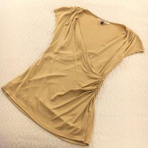 Diane von Furstenberg Gold Faux Wrap Top Sz M